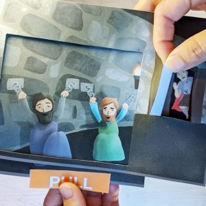photo of a paper bible craft about the story of paul and silas