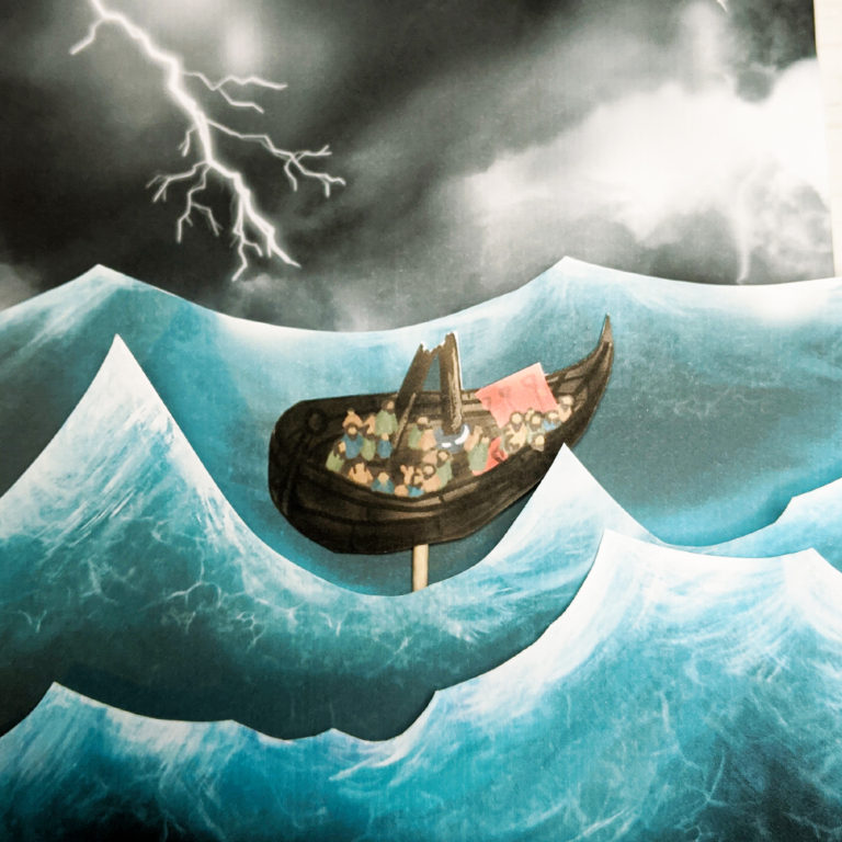 image of a bible craft showing paul in a storm on a boat