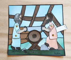photo of a craft showing noah building the ark with his son