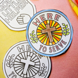 picture of paper badges with a helping theme for a church kids craft