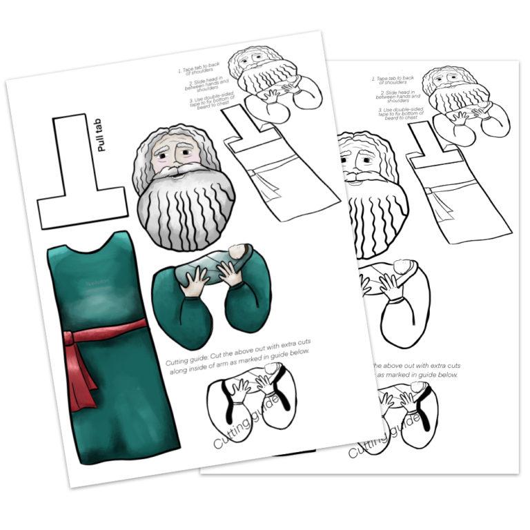 printables of a kids bible craft - simeon meets baby jesus