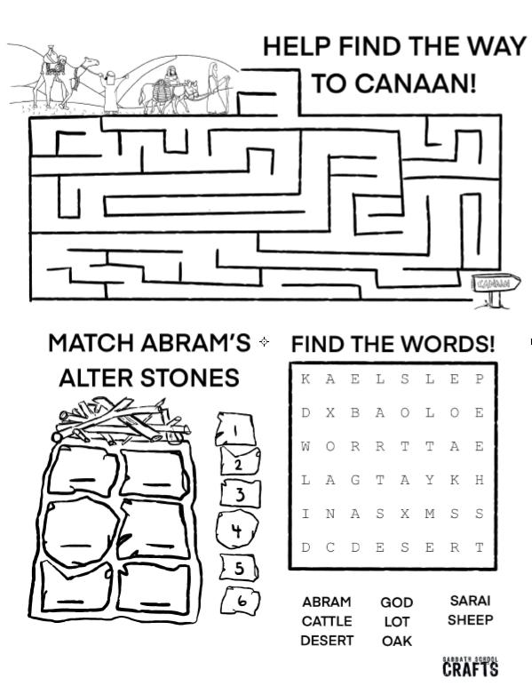 abrams altar activity sheet 2