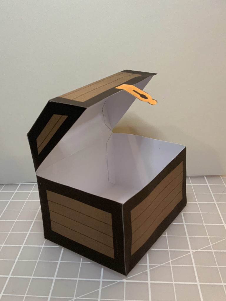 photo of a paper craft treasure chest