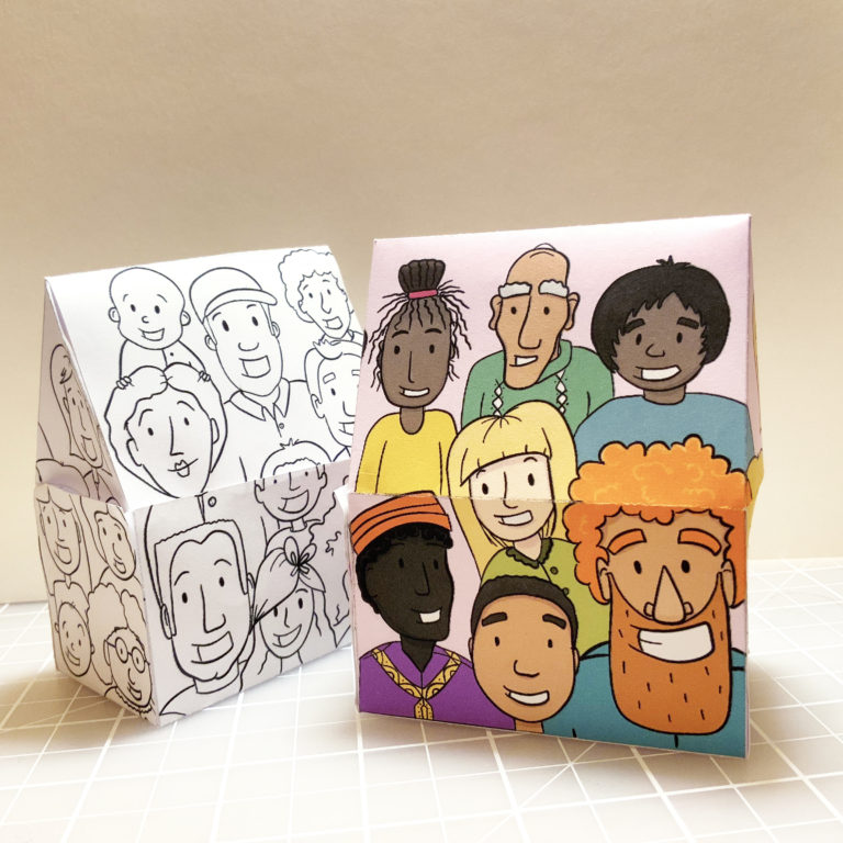 photo of a church shaped building with illustration of faces on paper's surface - kids bible craft