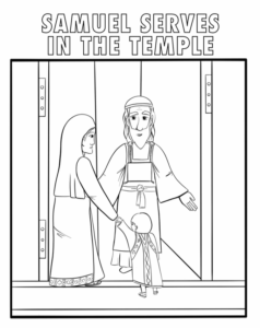 coloring sheet hannah takes samuel to priest eli to serve in the temple coloring sheet