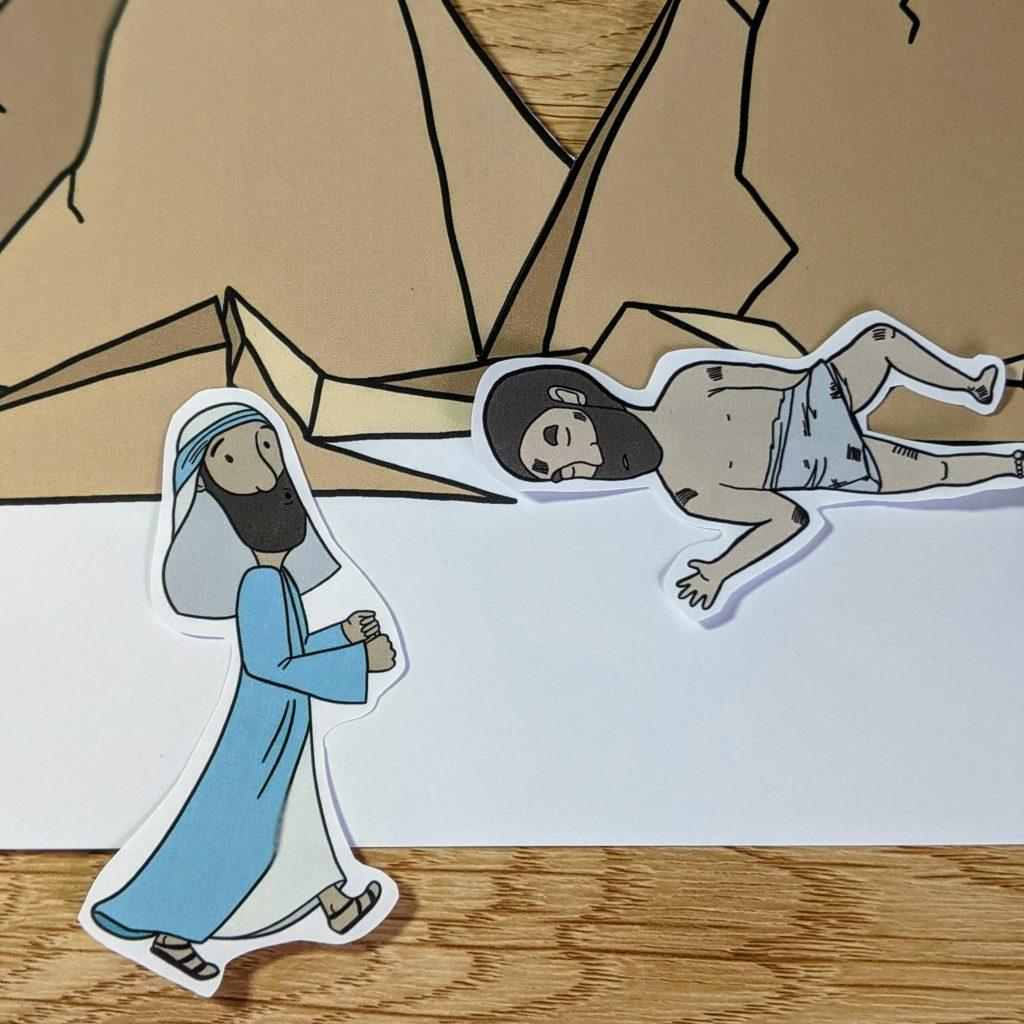 The good samaritan story with drawings