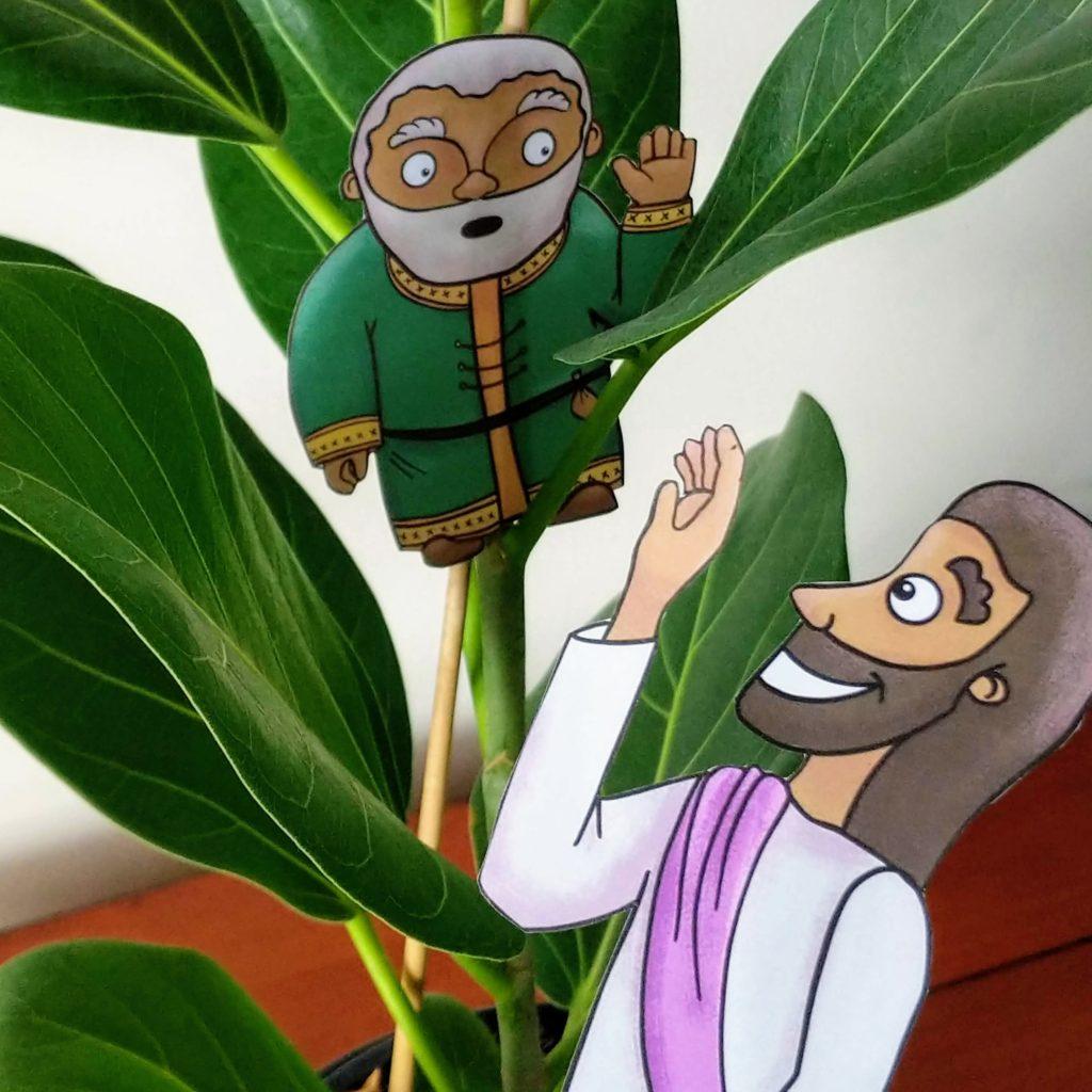 Zacchaeus and Jesus bible craft printable for kids
